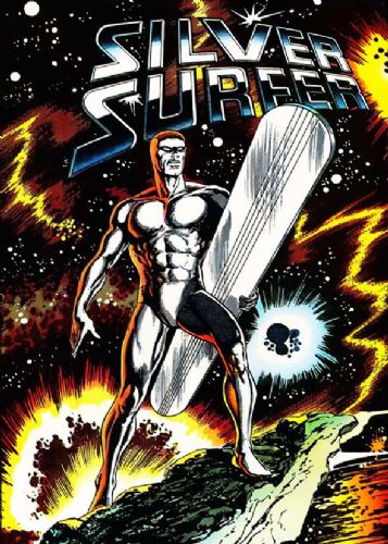 SILVER SURFER - COMIC COVER STYLE ART canvas print - self adhesive poster - photo print